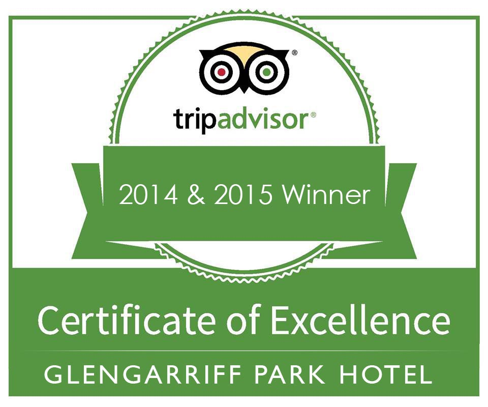 Tripadvisors' Certificate of Excellence award to Glengarriff Park Hotel in 2014 and 2015